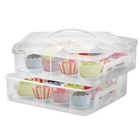 Portable Cupcake Carrier Stacking Cupcake Storage Container Cupcake, Cookie, Muffin or Cake Dessert Carrier