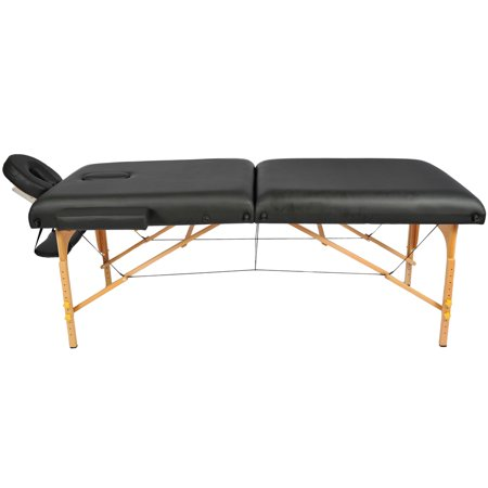 Professional portable 4 foam folding massage table w face cradle case black - Portable massage table walmart ...