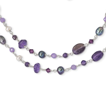 Lavender Jade And Pearl (Sterling Silver FWCult.Pearl (Grey & White)/Amy/Lavender Jade Necklace )