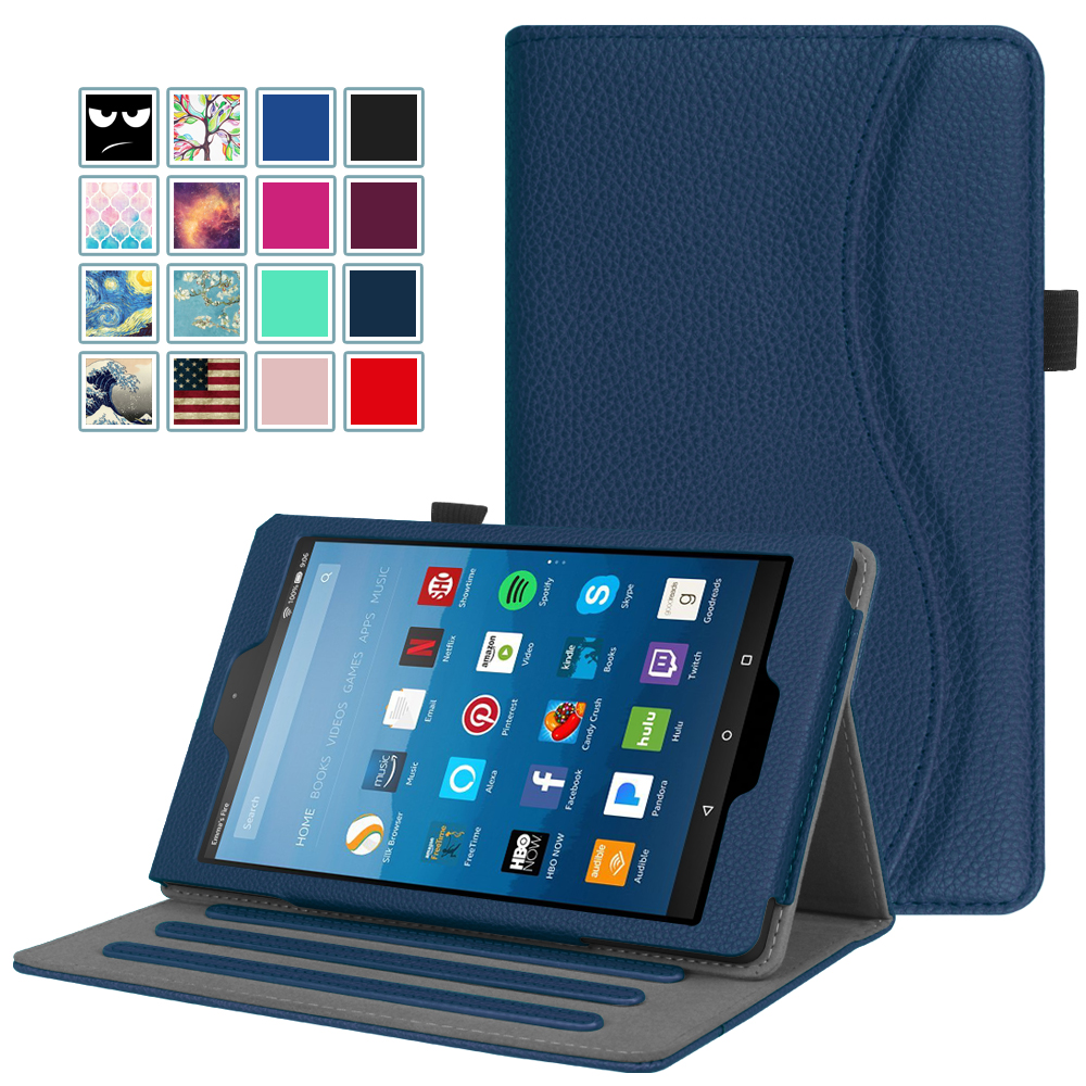 Fintie Case for Amazon Fire HD 8 Tablet - Multi-Angle Viewing Folio Stand Cover with Pocket Auto Wake/Sleep, Navy