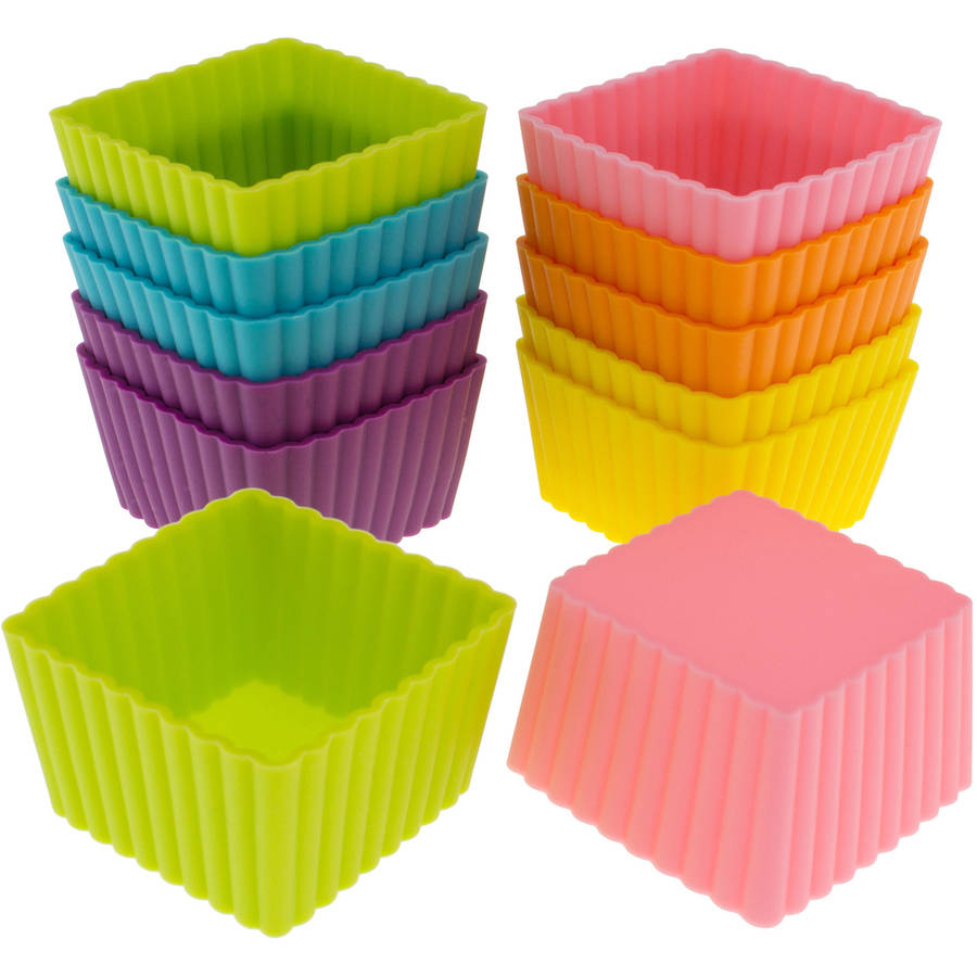 Freshware 12-Pack Mini Square Reusable Silicone Baking Cup, Rainbow Colors, CB-301SC