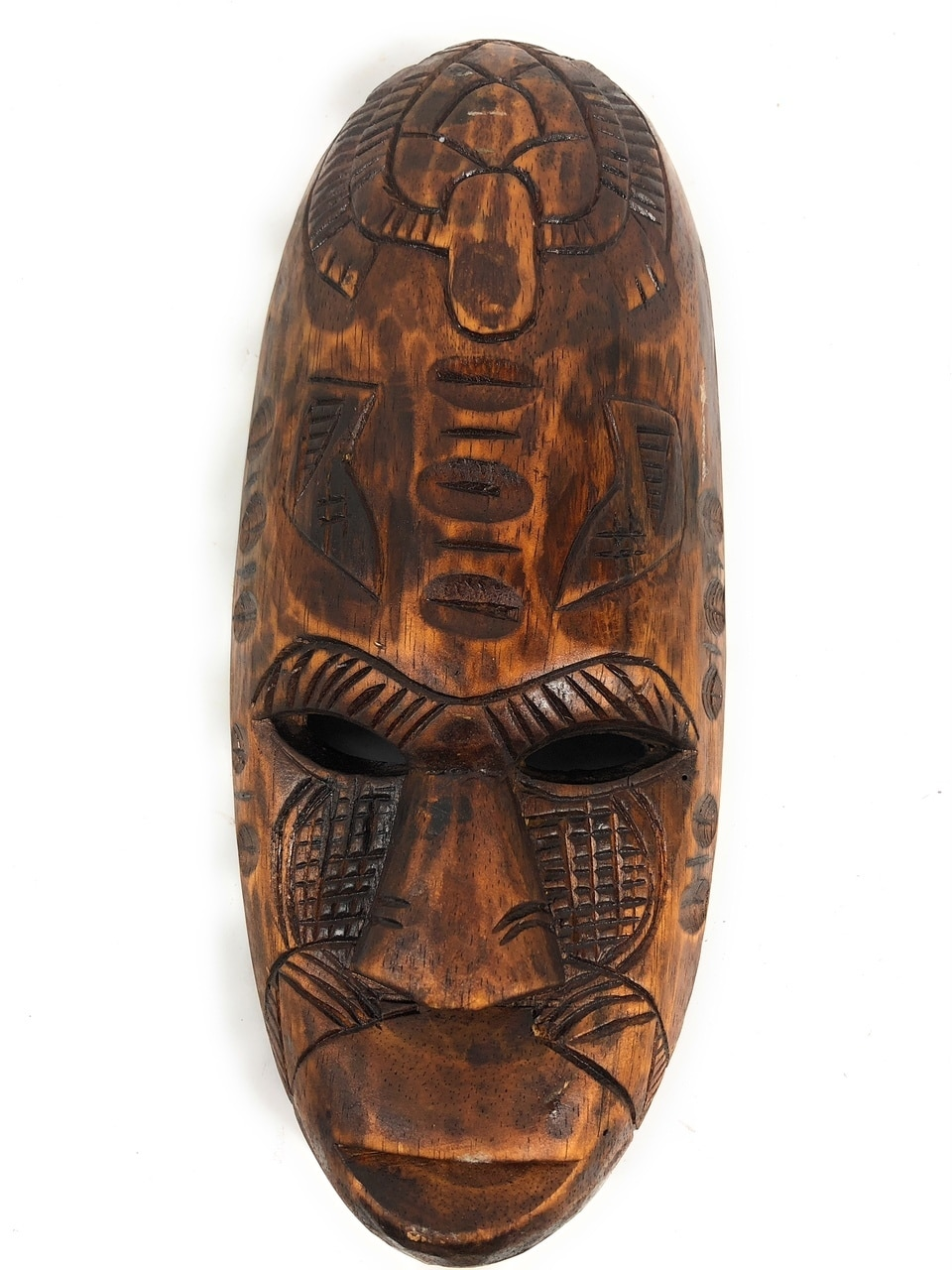 "Fijian Tiki Mask 12"" w/ Turtle & Dancing Knife - Tropical Decor 