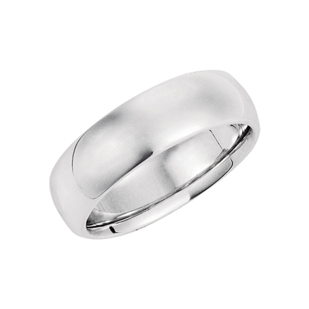 The Black Bow 7mm Domed Comfort Fit Wedding Band in Sterl...