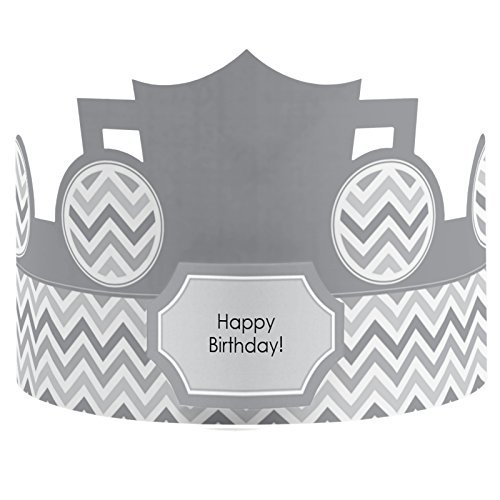 Chevron Gray - Crown Happy Birthday Party Hats - 8 Count