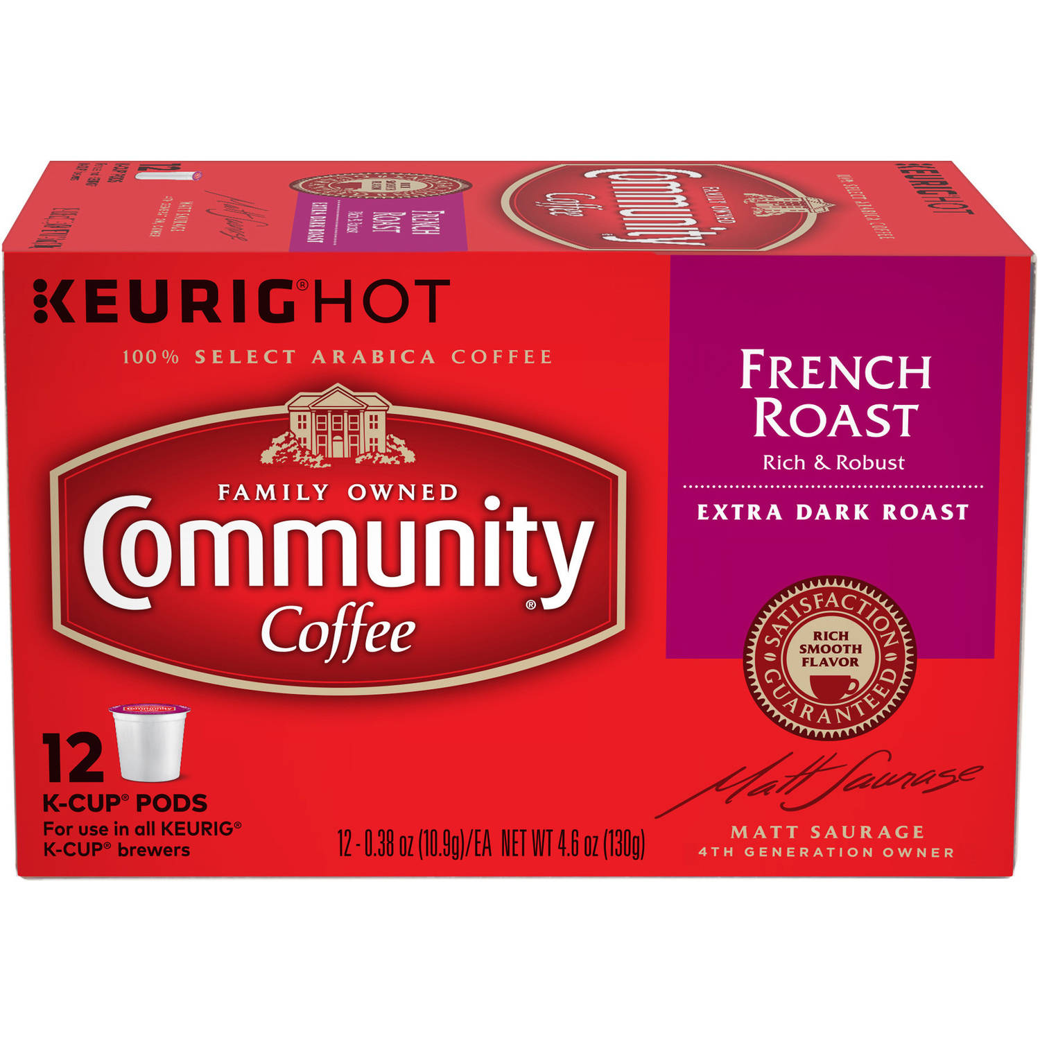 Community Coffee French Roast Extra Dark & Bold Coffee Single Serve Cups, 12 count, 4.65 oz