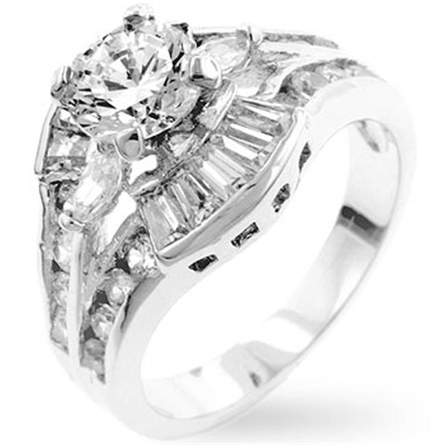 Kate Bissett R07783R-C01-08 Genuine Rhodium Plated Fashion Ring with Baguettes- Round- Marquise Cut Clear CZ Set in