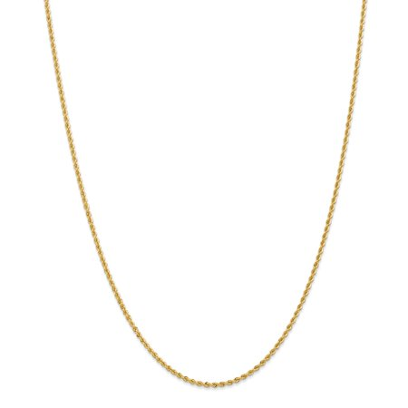 14K Yellow Gold necklace Rope chain 20 in 2 mm 2mm Regular