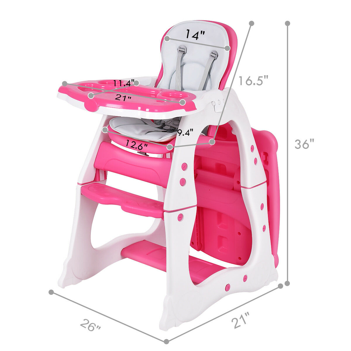 3 in 1 Baby High Chair Convertible Play Table Seat Booster Toddler Feeding Tray - image 7 de 10