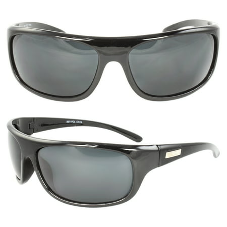 Polarized Wrap Around Fashion Sunglasses Black Frame Black Lenses for Men and (Wraparound Sunglasses)