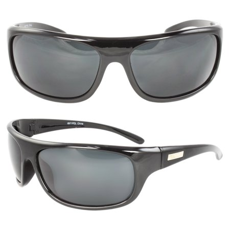 Polarized Wrap Around Fashion Sunglasses Black Frame Black Lenses for Men and (Organize Sunglasses)