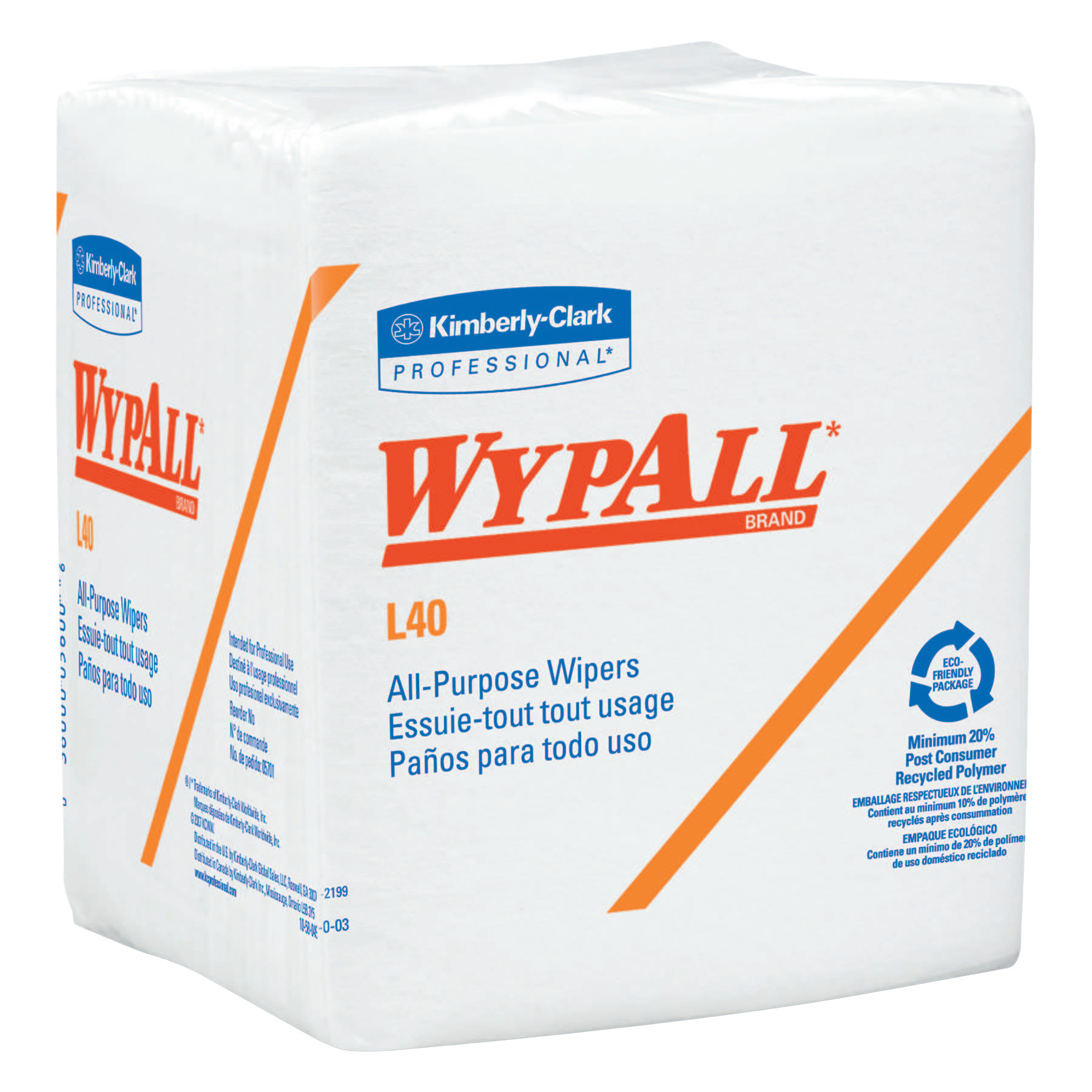 Kimberly-Clark Professional WypAll L40 Wipers, 1/4 Fold, 19 5/8 x 14 2/5, White, 56 per pack