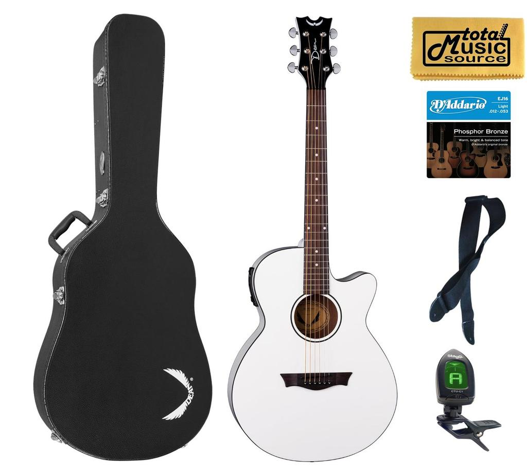 Dean AXcess Performer Acoustic/Electric Guitar, White, AX PE CWH HSBKPACK  Case Bundle