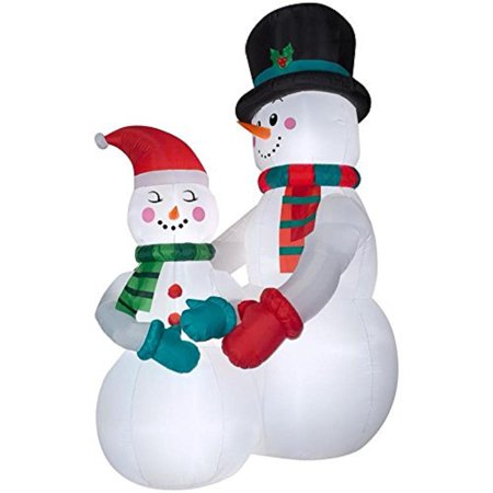 Holiday Living  Airblown Snow Couple Snowman Inflatable 10.5 Ft Tall - Halloween Snowman