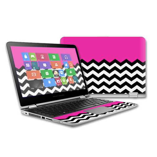 MightySkins Protective Vinyl Skin Decal for HP Pavilion x360 - 13 (2015) Touch Laptop case wrap cover sticker skins Hot Pink Chevron