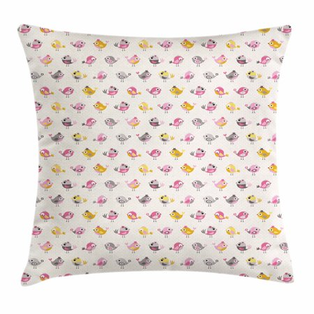 Baby Throw Pillow Cushion Cover, Cartoon Style Birds with Fancy Funny Animals with Accessories Top Hat Flowers, Decorative Square Accent Pillow Case, 18 X 18 Inches, Pink Grey Marigold, by Ambesonne