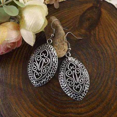 CLEARANCE - Tibetan Shield Silver Scroll Dangling Hook Earrings Silver Patina