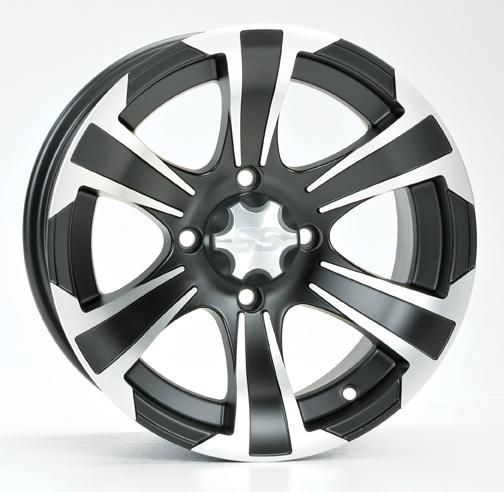 ITP SS312 Aluminum Wheel Rear 12x7 Machined w/Matte Black Fits 00-04 Yamaha Big Bear 400 YFM400N
