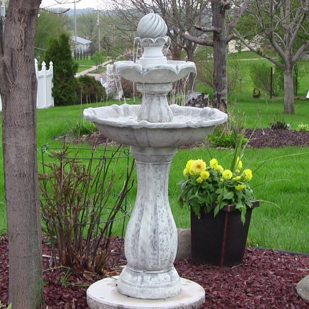 Sunnydaze 2-Tier Arcade Outdoor Solar Power Water Fountain with LED Light, White Finish, 45 Inch Tall