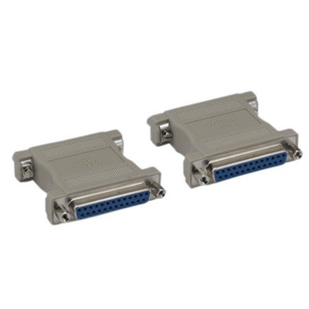 Kentek DB25 Female to Female F/F Molded Null Modem Adapter Gender Changer Coupler RS-232 Crossover Type Data Transfer DTE DCE