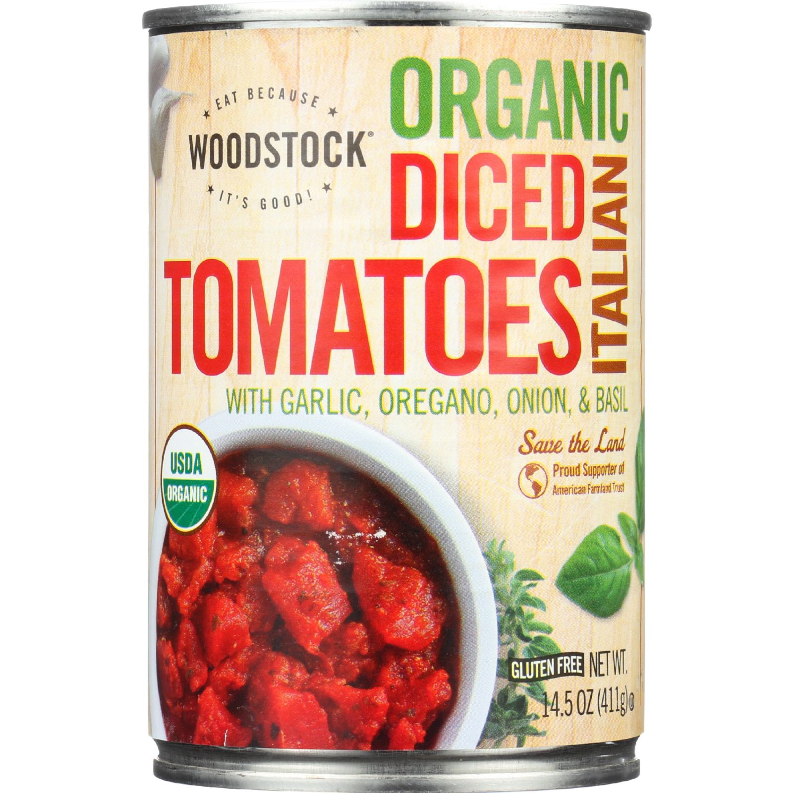 Woodstock Tomatoes - Organic - Diced - Italian Herbs - 14.5 oz - case of 12