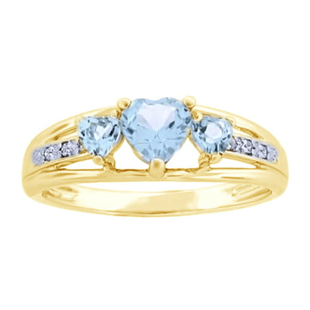 - Simulated Aquamarine CZ White Cubic Zirconia Anniversary Three-Heart Ring In 14k Yellow Gold Over Sterling Silver