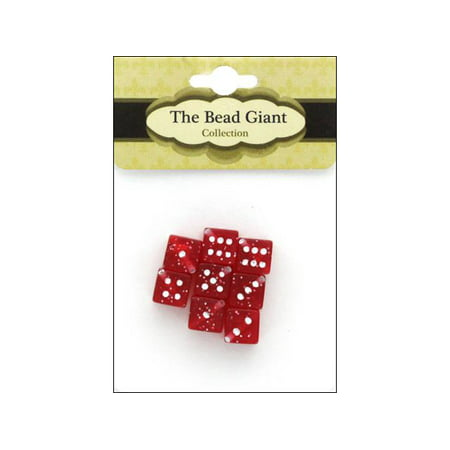 The Bead Giant Bead Dice Gltr 8mm 8pc Red (Dice Beads)