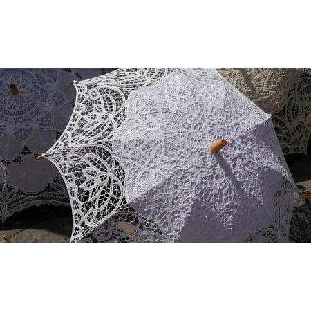 Peel-n-Stick Poster of Fashion Sun Umbrellas Lace Poster 24x16 Adhesive Sticker Poster - Lace Umbrellas