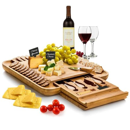 Bamboo Cheese Board with Cutlery Set | | Includes 4 Stainless Steel Serving Utensils, 3 Labels & 2 Chalk Markers ()