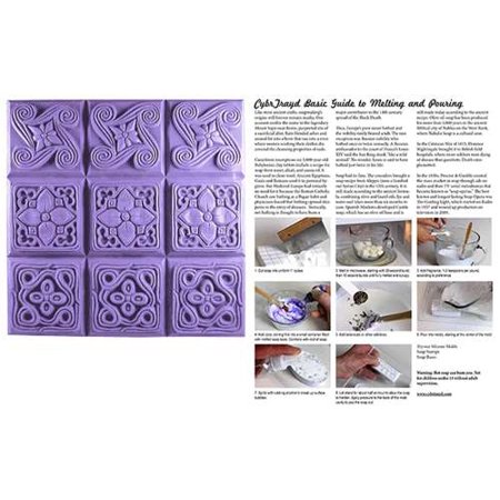 Milky Way Clear PVC Brocade Soap Mold Tray - Makes 4 oz Bars. Melt & Pour, Cold Process