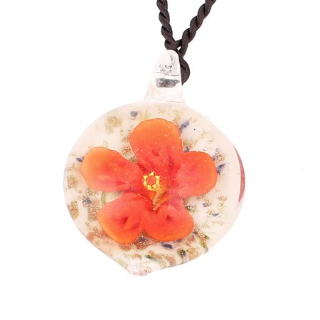 - Glass Pressed Flower Style Pendant Necklace Jewellery Orange White