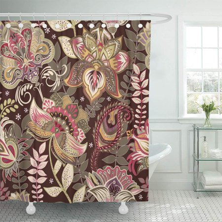 KSADK Brown Patchwork Colorful in Paisley Style Floral Decoupage Able Abstract Shower Curtain Bathroom Curtain 66x72 inch Brown Paisley Shower Curtain