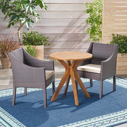 Bungalow Rose Bolesworth Outdoor 3 Piece Bistro Set with Cushions