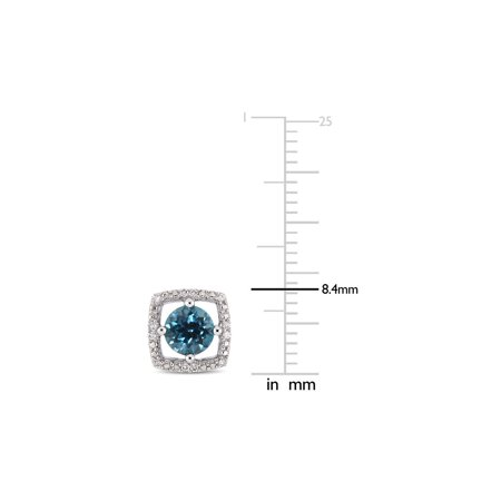1.10 Carat (ctw) London Blue Topaz Solitaire Halo Earrings in 10K White Gold with Diamonds - image 2 de 3