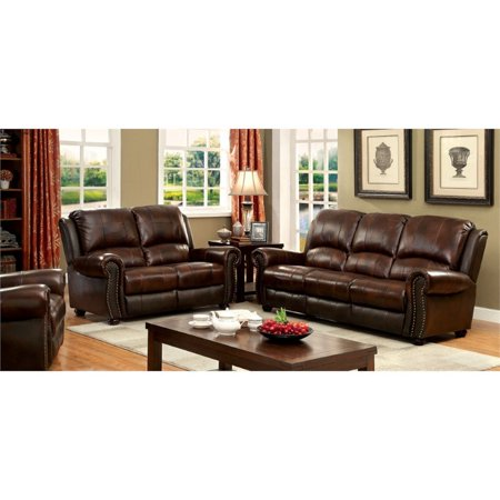 Furniture of America Mattice 3 Piece Top Grain Leather Match Sofa ...