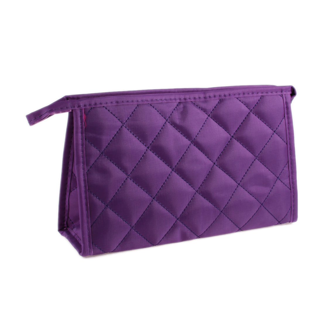 Portable Purple Nylon Grid Pattern Zipper Cosmetic Makeup Storage Bag for Women