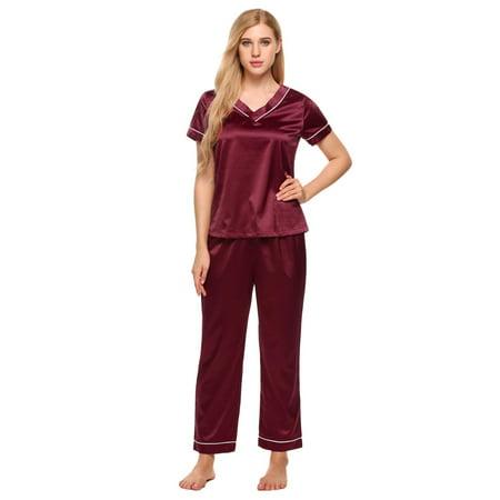 5ea6f1bdb7c5 Hifashion - 2018 The Newest Women Satin Pajamas Set V-Neck Short Sleeve Top  and Long Pants Lounge Sleepwear HFON - Walmart.com