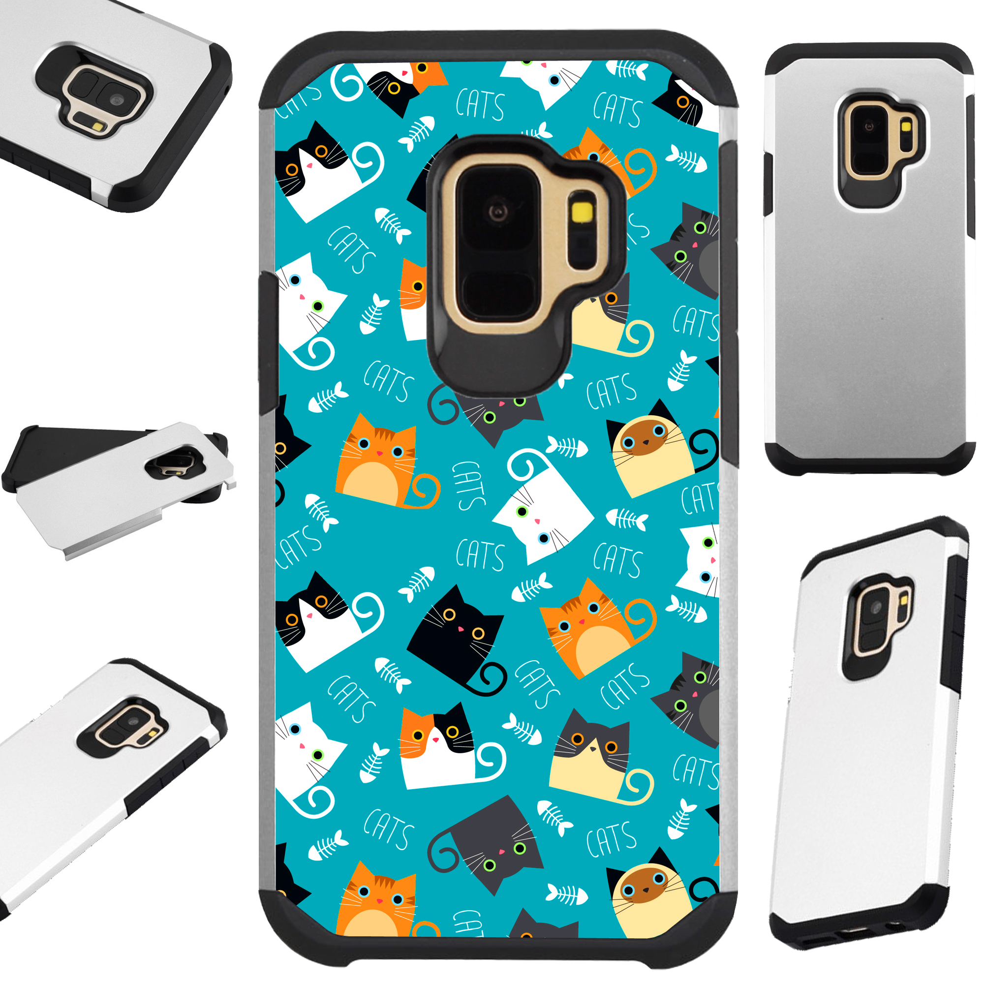 For Samsung Galaxy S9 Plus Case Hybrid TPU Fusion Phone Cover (Teal Fishbone Cat)