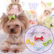 Girl12Queen 6 Pcs Dog Cat Puppy Hair Clips Hair Bow Tie Flower Bowknot Hairpin Pet Grooming