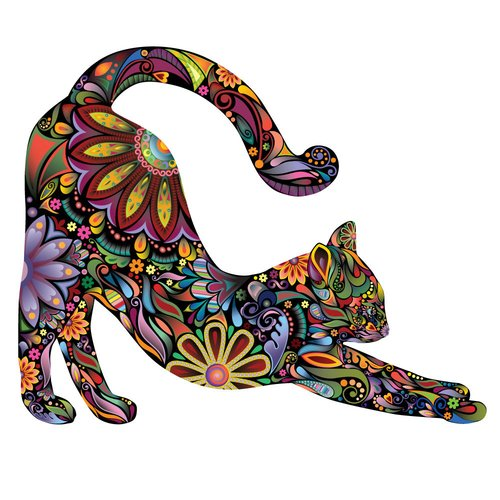 My Wonderful Walls Stretching Cat Right Facing Sticker Wall Decal