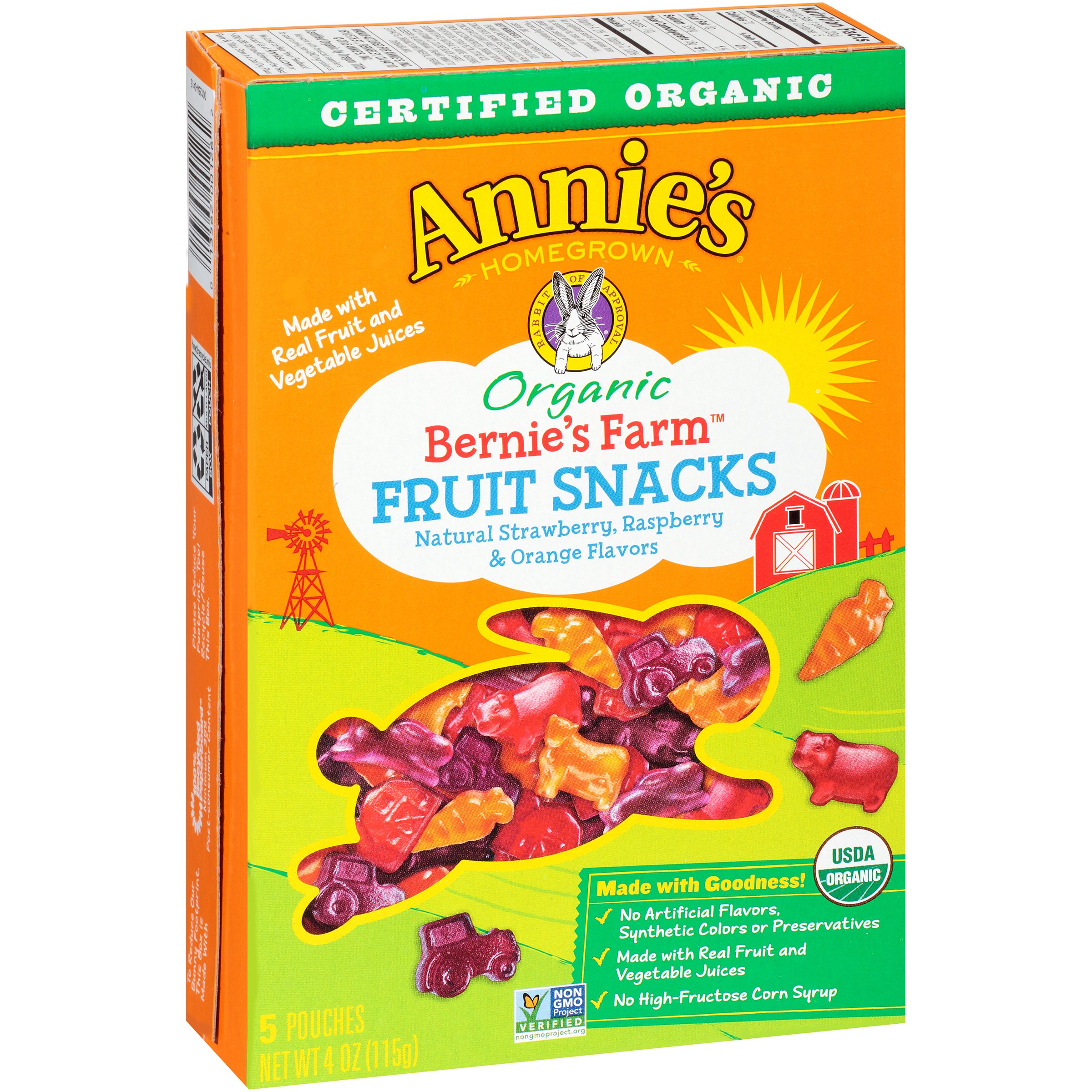 Annie's Organic Bernie's Farm Fruit Snacks, Strawberry, Raspberry & Orange, 5 Ct