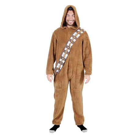 Star Wars Chewbacca Wookie Adult Union Suit with Hood - Star Wars Onesie For Adults