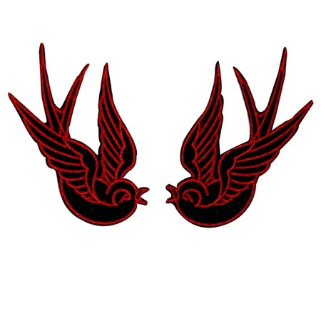 Set of 2 Red Swallow Patch Bird Tattoo Sparrow Ink Embroidered Iron On - Tattoos Of Birds