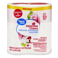 Great Value Automatic Air Freshener Spray Refill, Japanese Cherry, Twin Pack, 12.34 oz