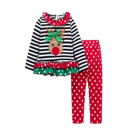 Princess Dress Outfit - Outtop Toddler Baby Girls Princess Deer Striped Tops+Pants Dress Christmas Outfits Set