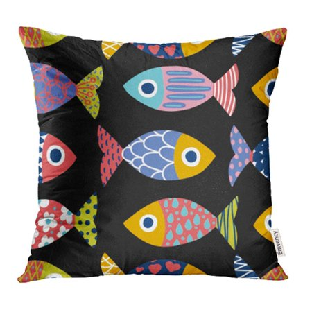 ARHOME Marine Cute Fish Kids Algae Animal Aquarium Aquatic Cartoon Comic Coral Pillowcase Cushion Cases 18x18 inch ()