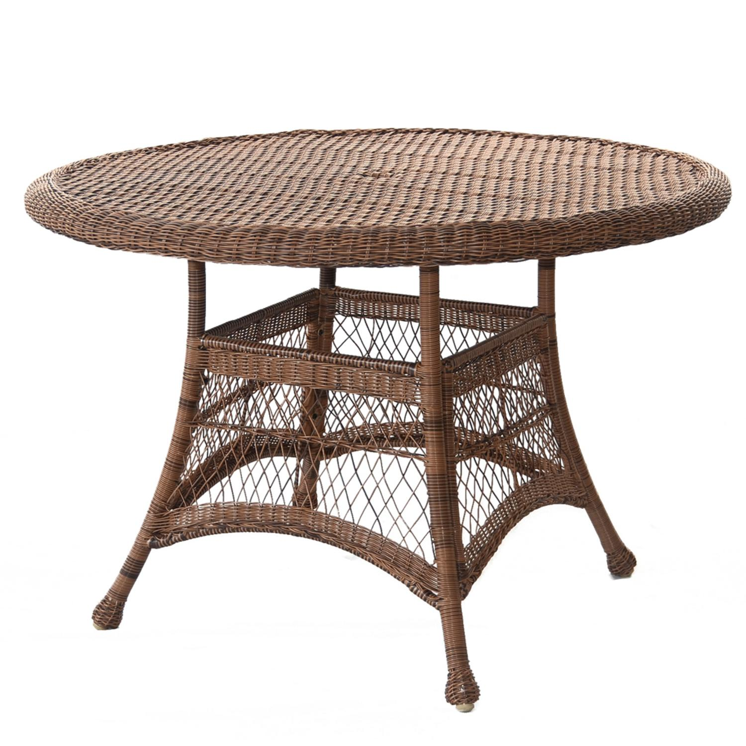 """44.5"""" Honey Resin Wicker Weather Resistant All-Season Outdoor Patio Dining Table"""