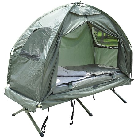 Outsunny Portable Camping Cot Tent with Air Mattress, Sleeping Bag, and Pillow