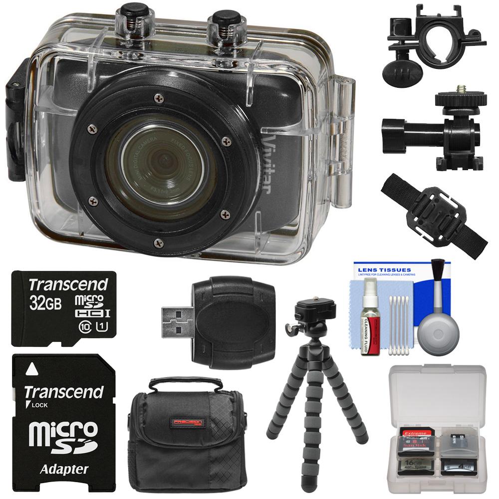 Vivitar DVR785HD Waterproof Action Video Camera Camcorder (Black) with Helmet & Bike Mounts + 32GB Card + Case + Flex Tripod + Kit