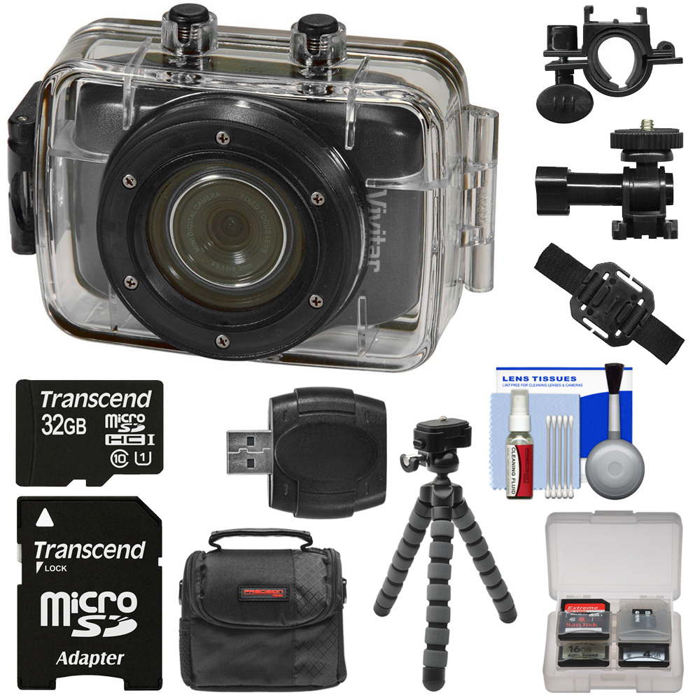 Vivitar DVR785HD Waterproof Action Video Camera Camcorder (Black) with Helmet & Bike Mounts + 32GB Card + Case + Flex Tripod + Kit