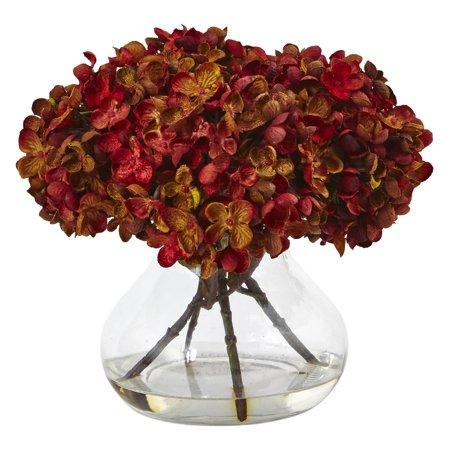 Nearly Natural Hydrangea with Vase Silk Flower Arrangement ()